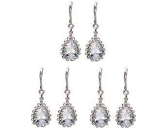 Large CZ Drop Earrings, Wedding Jewelry, Bride Earrings, Drop Earrings, Dangle Earrings, Bridesmaid Jewelry, Mother's Day