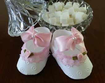 Set Of Ten Pink And White Shoe Favors / Baby Girl Favors / Baby Shower Favors