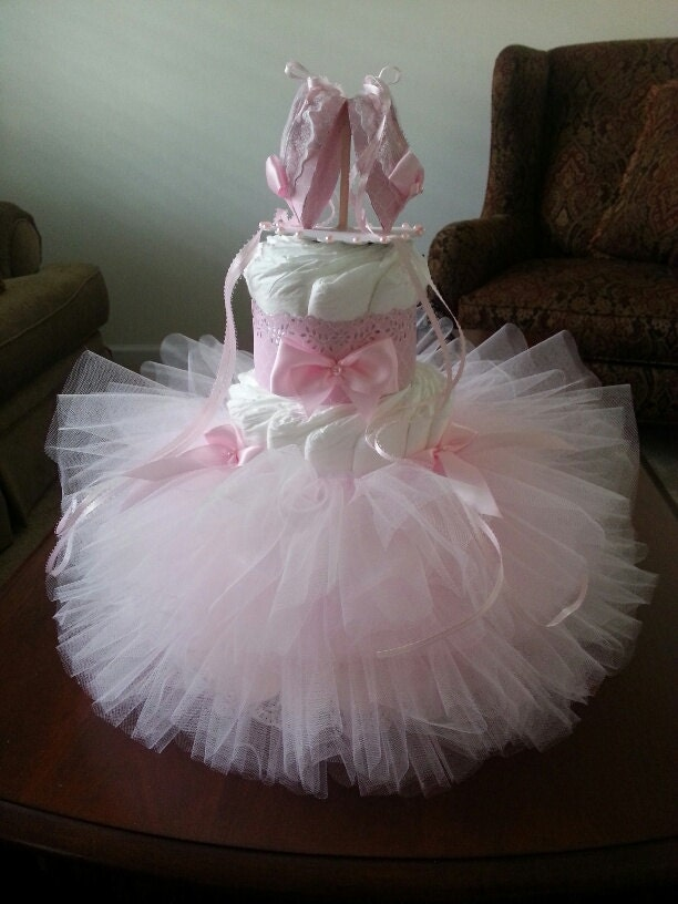 Three Tier Pink TuTu Diaper Cake / Ballerina Baby Shower