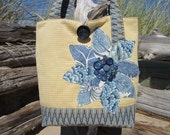 Blue Yellow Floral tote bag, Womens shoulder handbag, Quilted Travel tote, Large Navy tote purse,  Handmade Applique  fabric bag, Messenger
