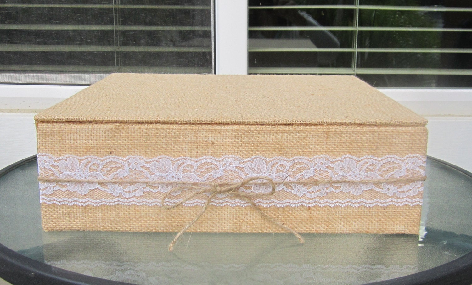 Burlap and Lace Wedding Cake Stand tied with a by