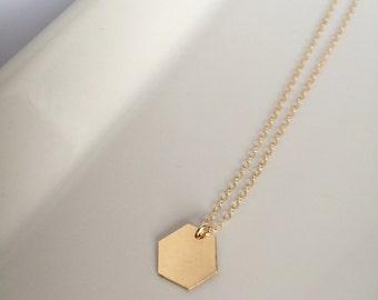 Ella • Hexagon necklace // 14K gold filled hexagon charm