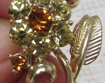 Lovely  Coro flower rhinestone screw  on earrings