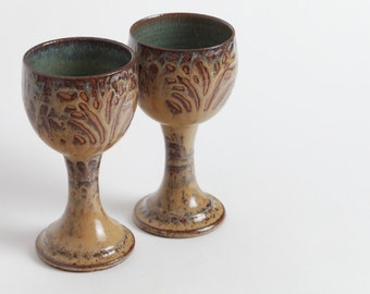 Set of two. Stoneware goblet, pottery wineglass, goblet, chalice, ceramic wineglass, pottery goblet, ceramics and pottery, stoneware cup.