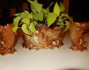 AUTUMN HAND PAINTED Centerpiece and Vases