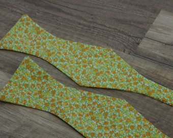 Handmade bow tie green orange floral self tie freestyle classic pattern colorful cotton bowtie