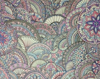 Paisley Pattern in Blues, Purples and Pinks - A2 sized- Hand Drawn Original.