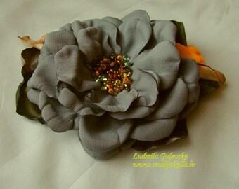 Handmade gray satin flower brooch, grey flower clip & pin