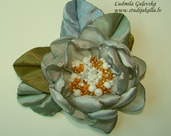Handmade silver gray satin flower brooch, flower pin, embroidered flower