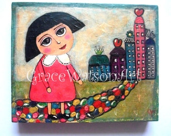 "Moving Home Acrylic Painting ~ Moving Home Art ~ Whimsical Painting on box canvas 10 x 8"" (original) 'Moving On'"