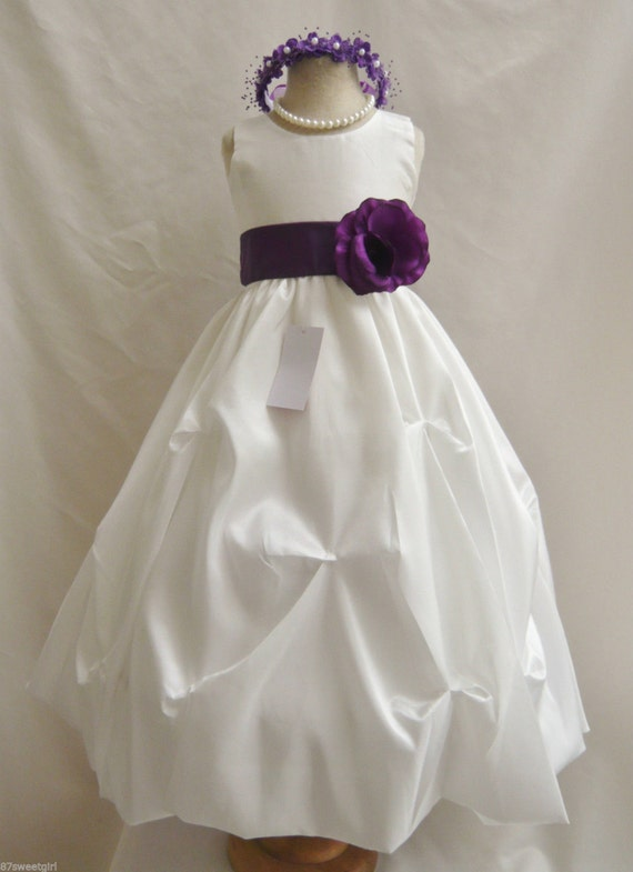 Flower girl dresses ivory with purple pick up by for Purple and ivory wedding dresses