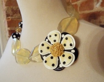 Yellow Faceted Quartz Statement Necklace with Vintage Enamel Polka Dot Flower Brooch