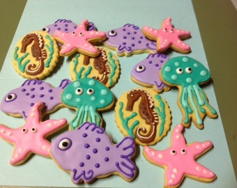 "16 iced ""Under the sea"" cookies."