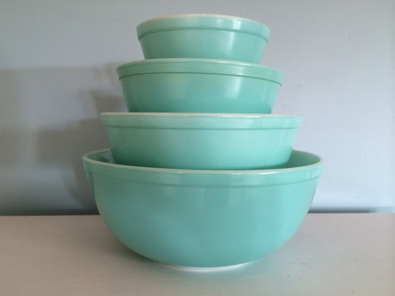 FULL SET Vintage Pyrex Turquoise Mixing Bowl Set