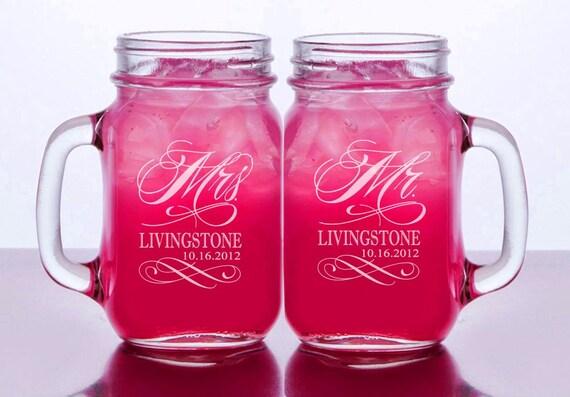 Mr and Mrs Set of 2 Personalized Mason Jars Drinking Mugs