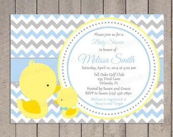 Ducks Baby Shower Invitation, Printable - Boy Baby Shower, Blue and Grey Chevron, Baby Boy Shower, Yellow Duckies, Mom and Baby - 046