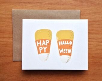 Happy Halloween - Hand Painted Candy Corn - Halloween Notecard