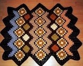 brown nature  Granny Square Afghan Crochet Plaid Blanket OOAK baby blanket, dog blanket, vintage look