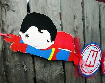 Superman Banner - Superhero Birthday Banner - 3D