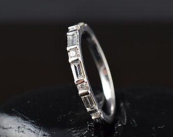 Bar Set Baguette and Round Brilliant Cut Diamond Band in White Gold, 1/2 Eternity Band, 2.3mm Wide, Alternating Bar Setting, Jessica