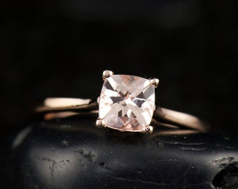 Morganite Engagement Ring in Rose Gold, 0.90ct Cushion Cut Morganite Center, Classic 4-Prong Cathedral Setting with Diamond Accents, Emma C