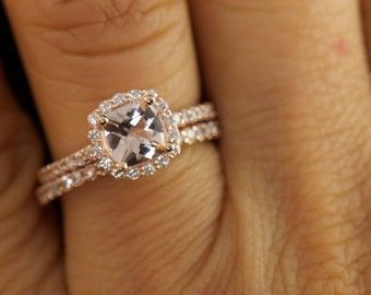 Kylie & Petite Bella Set - Morganite and Diamond Halo Engagement Ring and Matching Diamond Wedding Band in Rose Gold, Free Shipping