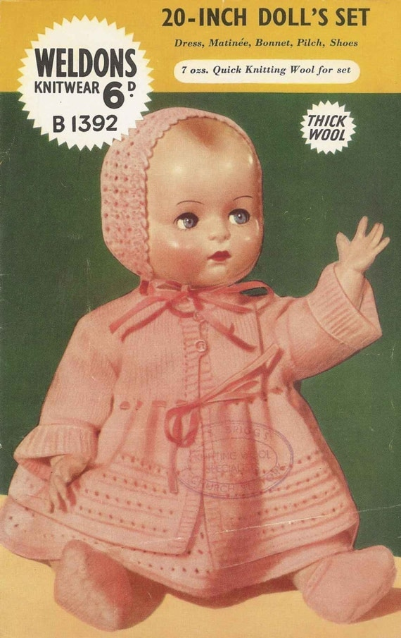 Vintage Knitting Patterns Dolls Clothes : Vintage Knitting Pattern to knit Clothes for 20 Dolls