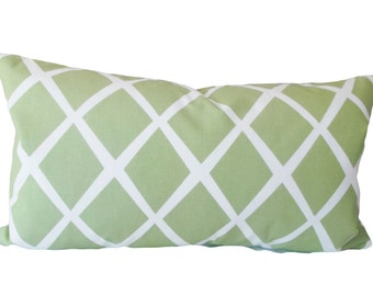Serena and Lily Green Trellis Decorative Pillow Cover - Throw Pillow - Accent PIllow - Toss Pillow - Both Sides - 16x16