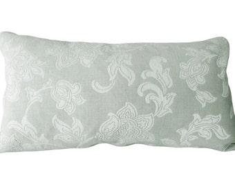 SALE - PILLOW - Green Floral Jacobean Decorative Pillow Cover - 14x24 Lumbar Pillow - Throw PIllow - Toss Pillow - Both Sides