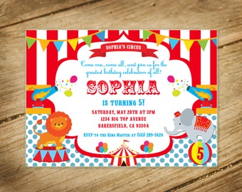 Circus / Big Top / Fair / Carnival Themed Birthday Invitation