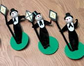 Vintage Felt, Pipe Cleaner & Paper Snowmen with Red Nose and Top Hat, Tuxedo Upright Holding Lamp Post
