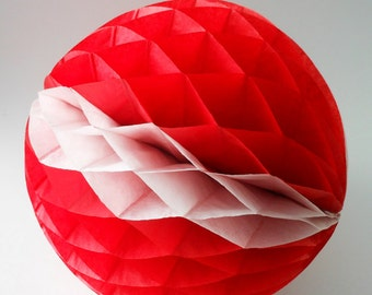 Vintage Red & White Striped Small Paper Honeycomb Pom Round 8 inch Tissue Paper Decorations