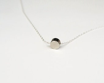 Tiny SilverDot Necklace/ Small Circle Necklace