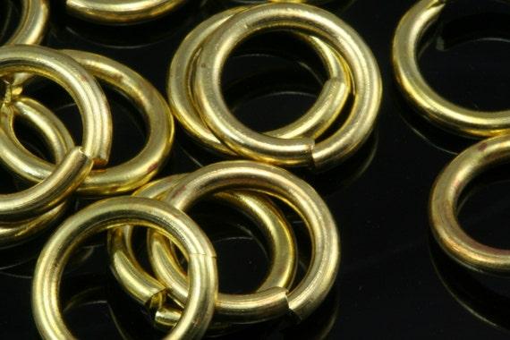 Open jump ring 100 pcs  10 mm 15 gauge( 1,5 mm ) raw brass (varnish) jumpring 1015JV-40