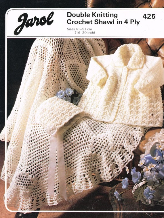 Jarol Knitting Patterns : Jarol 425 baby matinee coat and bonnet set vintage by Ellisadine