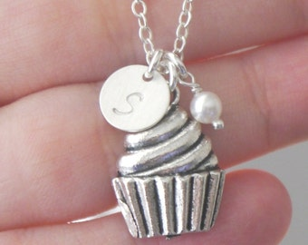 Cupcake Necklace, Cupcake Charm Necklace, Cupcake Graduation Gift, Gifts for Baker, Culinary School Graduation, Cup Cake Necklace, Letter