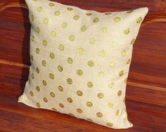 Gold Polka Dot Burlap Pillow Covers Zippered Pillow Decorative Throw Pillow Cover Toss Couch Pillow Cover Accent Pillow Monogrammed Pillows