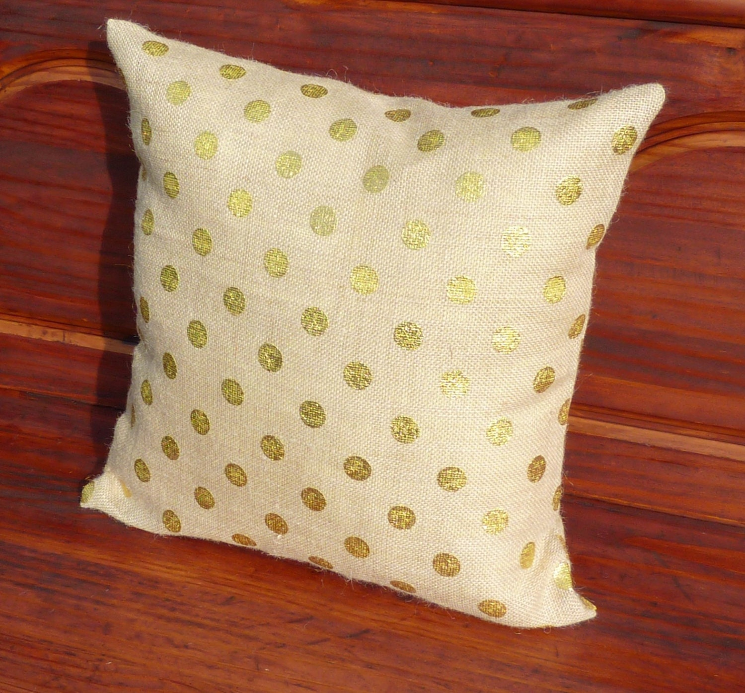 Gold Polka Dot Burlap Pillow Covers Zippered Pillow Decorative