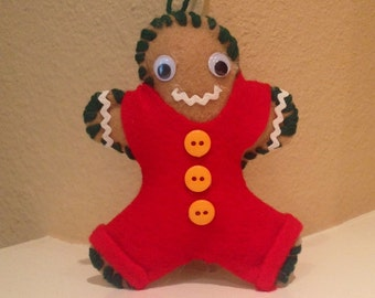 Gingerbread Man Christmas Holiday Ornament--Green
