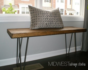 3ft Reclaimed Barn Wood Bench with Steel Hairpin Legs