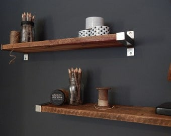"7.5"" Depth Salvaged Barn Wood Shelving with Modern Metal Brackets"