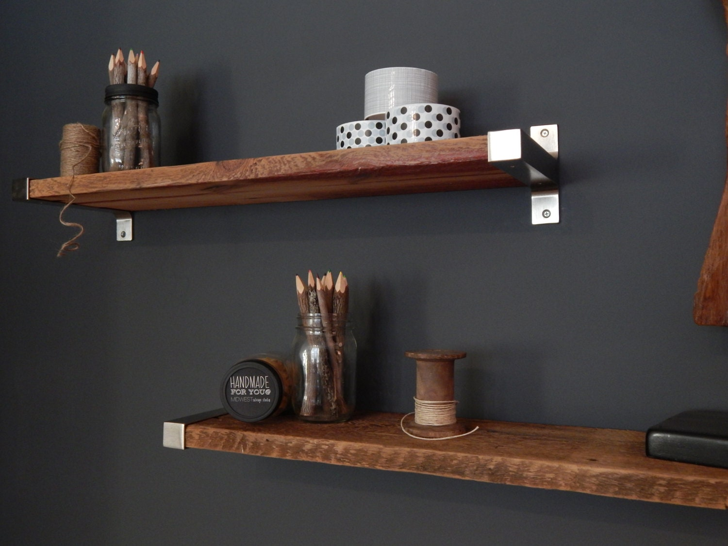 Barn Wood Shelves ~ Depth salvaged barn wood shelving with modern metal