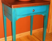 Turquoise and Teal Table/Repurposed Sewing Machine Table/Side Table/Nightstand - TheRusticRiver