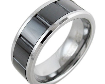 Gorgeous Tungsten Black Grooved Striped Band Ring Size 9-13 TW