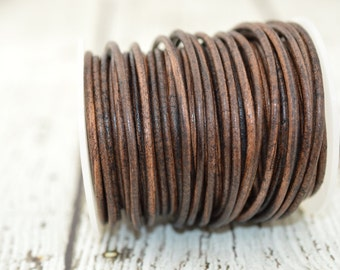 Distressed Brown Leather Cord 3mm Round Cord Qty 3 to 10 Yards Feet Dark Antique Brown Cording Great Leather Wrap Cords