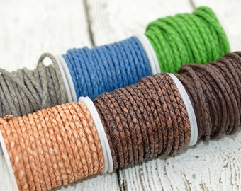 Braided Leather Cord, Black, Gray, Blue, Green, or Brown 3mm Round Bolo Leather Cording, Qty 3 Feet or 10 Yard Spool Wrap Bracelets
