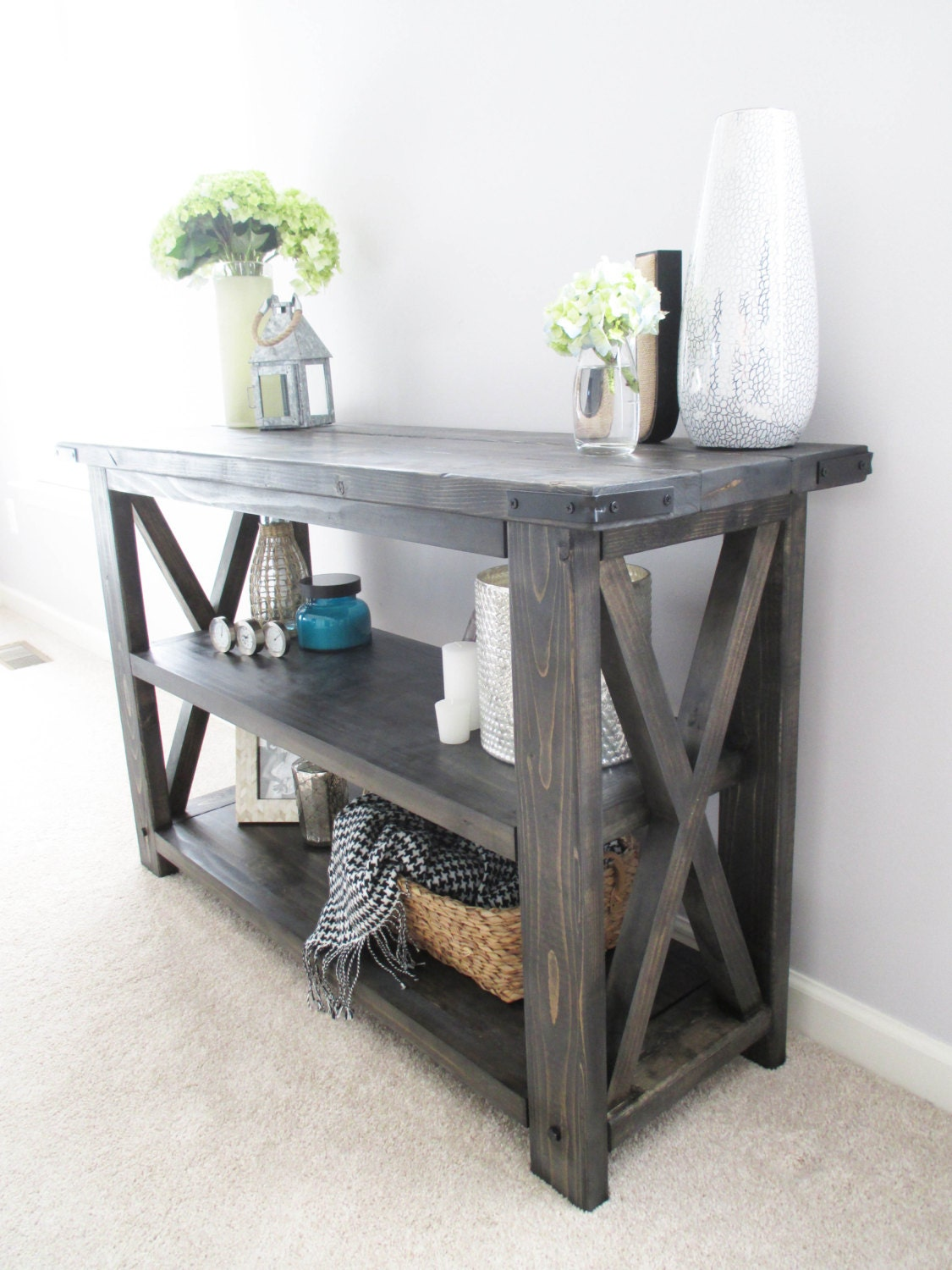 Foyer Furniture Names : Rustic distressed handmade console media table bookshelf