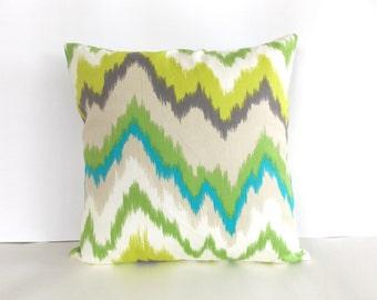 Green, White, Blue, Tan Throw Pillow - Ikat Throw Pillow - Chevron Throw Pillow