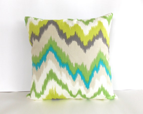 Green White Blue Tan Throw Pillow Ikat Throw Pillow