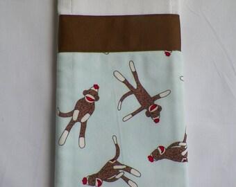 Baby burp cloth sock monkey READY TO SHIP baby boy